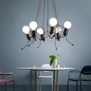 Modern Creative Mini People Ceiling Pendant Light 3/6 Light Open Bulb Hanging Lights in Black for Dining Room
