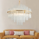 Stainless Steel Ring Pendant Lights Modern Crystal Hanging Light Fixtures with Adjustable Chain for Indoor