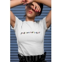 Women's Short Sleeve Round Neck Letter Feminism Polka Dot Printed Fitted T-shirt
