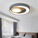 Green/Grey/White Round Flush Light Modern Iron and Acrylic Unique Ceiling Light Fixtures for Bedroom