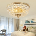 3 Lights Clear Crystal Flushmount Light Vintage Foyer Flush Ceiling Light in Gold, 12