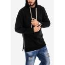 Men's New Trendy Simple Plain Long Sleeve Zipper Side Casual Sport Pullover Drawstring  Hoodie