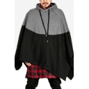 Men's New Arrival Fashion Color Block Asymmetrical Hem Cape Drawstring Hoodie