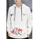 Mens New Fashion Letter 99 Printed Long Sleeve Casual Sports Loose Fit Drawstring Hoodie