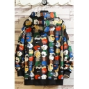 Mens New Stylish Cute Cartoon All-Over Printed Long Sleeve Casual Loose Drawstring Hoodie