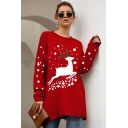 Womens Cute Reindeer Print Christmas Style Round Neck Long Sleeve Knitwear Sweater