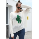 Womens Simple Cactus Print Boat Neck Batwing Sleeve Knitwear Sweater