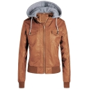 Womens New Trendy Plain Flap Pocket Front Long Sleeve Zip Up Hooded PU Leather Jacket