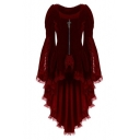 Womens Fancy Chic Lace Trimmed Zipper Front Bell Long Sleeve Swallowtail Coat