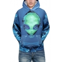 Fashion Blue Alien 3D Printed Long Sleeve Unisex Sport Hoodie with Pocket
