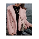 Womens Stylish Solid Color Button Embellished Warm Fluffy Fur Coat