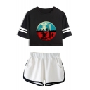 Upside Down Figure Print Stripe Short Sleeve Crop Tee with Dolphin Shorts Two-Piece Set