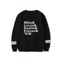 Fashion Stranger Things Figure Name Mike Lucas Dustin Print Long Sleeve Pullover Sweatshirt