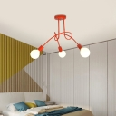 Living Room Curve Semi Flush Ceiling Light Metal 3/5 Light Contemporary Blue/Red Flush Mount Light
