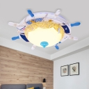 Nautical Round Rudder Ceiling Lamp with Sand Decoration LED Opal Glass Shade Flushmount