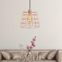 Transitional Pyramid Hanging Light Kit Iron 1-Light Hanging Light Fixture in Rose Gold for Bar