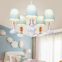 Tapered Chandelier Light with Rocket 7 Lights Kids Blue Fabric Shade Pendant Lamp