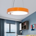 Metal Round Hanging Pendant Light with Number Design Nursery Room Led Suspension Lamp