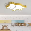 Cartoon Dinosaur Ceiling Flush Light Metal Integrated Led Flush Mount Lighting with Acrylic Diffuser
