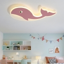 Acrylic Whale Flush Lighting Cartoon Integrated Led Flush Mount Lamp for Kids Bedroom