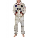 Hot Trendy Astronaut NASA Logo Pattern Unisex Apricot Casual Leisure Jumpsuits