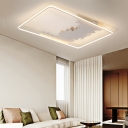 Nordic Style Etched Ceiling Lighting in White Metallic LED Flush Mount Light for Sitting Room