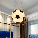 White Glass Football Pendant Light Modern Sports 1 Light 9