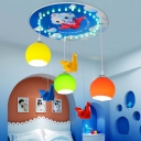 Glass Shade Globe Pendant Light with Wood Canopy Kids 3 Lights Hanging Lamp for Kindergarten