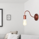 Exposed Bulb Light Sconces Retro Style Iron 1 Head Gooseneck Wall Mounted Wall Lights