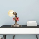 1-Light Pipe Desk Lamp Industrial Style Glass and Steel Plug in Table Lamp with Wooden Base Plate