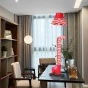Stripe Animal Night Light Fabric 1 Head Novelty Floor Lamp for Children Kids Bedroom