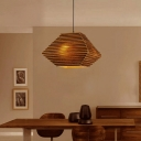 Geometric Pendant Lighting Asian Style Kraft 1 Light Corrugated Paper Indoor Pendant