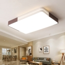 Rectangle/Square Bedroom Flush Mount Ceiling Light Acrylic LED Modern Ceiling Flush in Brown and White