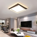 Contemporary Square/Rectangle Flush Mount Fixture Metal Ceiling Light in Brown for Bedroom