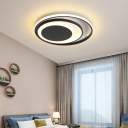 Acrylic Round LED Flush Mount Lighting Contemporary Ceiling Light in Black for Bedroom