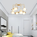 White Glass Globe Chandelier Light with Planet Design Art Deco Multi Light Pendant