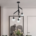 Clear Glass Orb Chandelier Light Modern Simple 4 Lights Hanging Pendant Light in Black