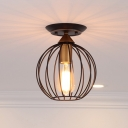 Sphere Cage Semi-Flush Mount Antiqued Metal 1 Head Semi Flush Mount Light in Black for Bedroom