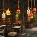 Colorful Bottle Glass Ceiling Pendant Lights 1 Head Rope Hanging Pendant Lights for Restaurant