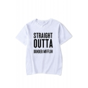 Trendy Letter Straight Outta Dunder Mifflin Printed Short Sleeve Leisure T-Shirt
