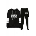 Fashion Letter Dunder Mifflin Printed Long Sleeve Hoodie with Sport Joggers Sweatpants Two-Piece Set