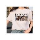 Summer Stylish Friends Figure Printed Round Neck Short Sleeve White T-Shirt