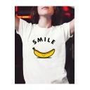 SMILE Letter Banana Printed Round Neck Short Sleeve T-Shirt