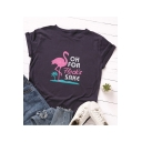 OH FOR Flock'SAKE Letter Flamingo Printed Round Neck Short Sleeve Casual Loose Tee