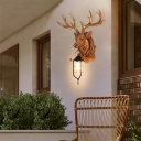 Single Light Lantern Wall Light with Resin Deer Closed Glass Outdoor Wall Mount Lighting in Black