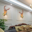 Single Light Deer Wall Light with Flower and Crystal Lampshade Village Living Room Sconce Light