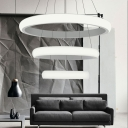 White Donut Chandelier Lighting Nordic Style Acrylic Led Indoor Pendant Light for Foyer