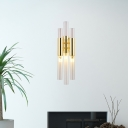 3 Light Tube Wall Light Fixtures Modern Glass Metal Sconce Wall Lamps for Living Room