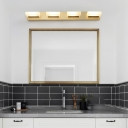 2/3/4 Light Squared Wall Light Fixtures Modern Acrylic Sconce Light Fixtures in Brass for Bathroom