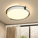Nordic Drum Flush Mount Ceiling Light Acrylic Shade Led Flush Light in Gray/White